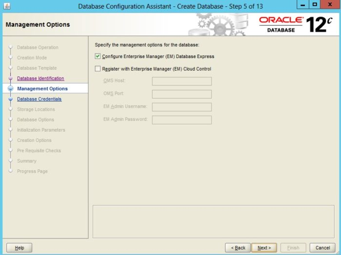Creating an Oracle Database 12c