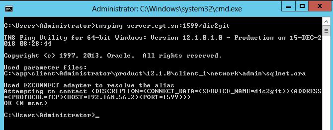 Oracle database 12c client configuration