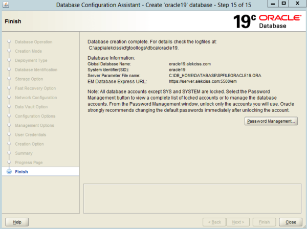 Create an Oracle Database 19c on Windows 22