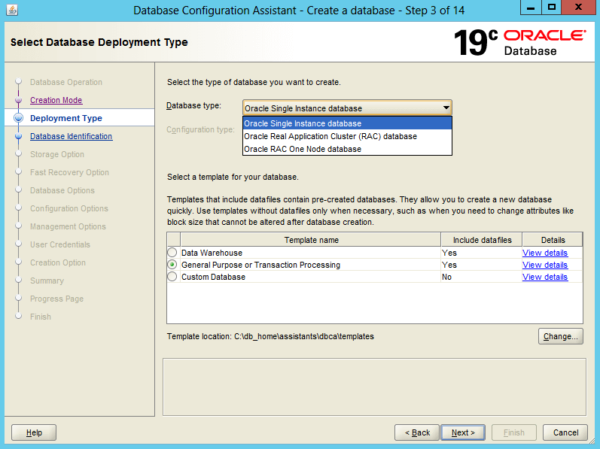 Create an Oracle Database 19c on Windows