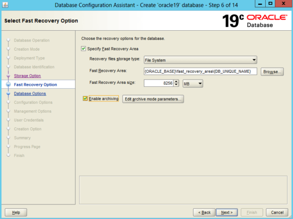 Create an Oracle Database 19c on Windows 7