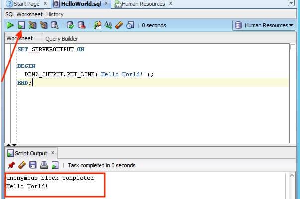 Run SQL Developer code