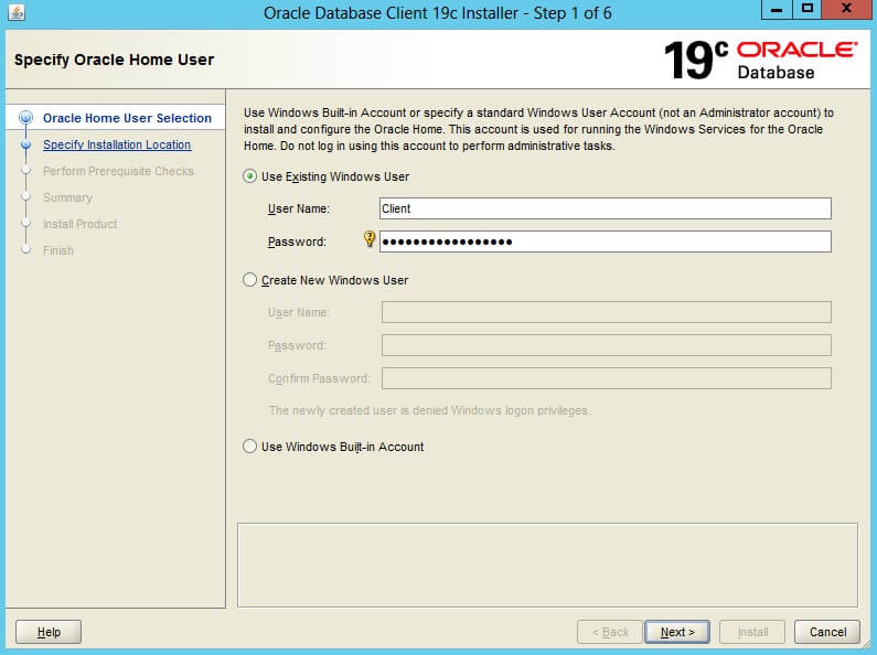 Install Oracle Database Client on Windows 2