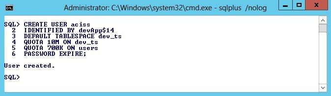 Oracle Database Create User - Advanced Mode